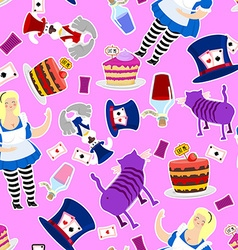 Alice in wonderland pattern fat woman and cheshire vector