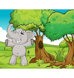 Elephant and trees vector image