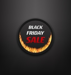 Round Frame or Web Button with Fire Flame for vector image