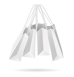Hanging white paper bags vector