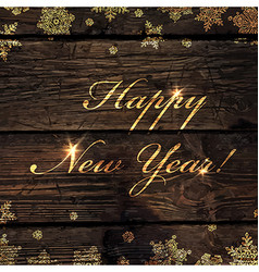 Happy new year golden greeting on wooden board vector