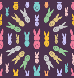 Seamless pattern easter greeting with bunnies vector