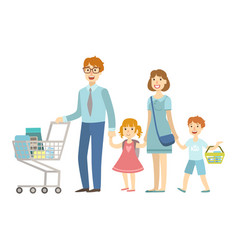 Family of four members shopping in supermarket vector