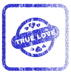 true love stamp seal framed textured icon vector image