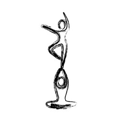 Sketch of couple dancer pirouette in one foot vector