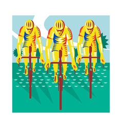 Cyclist Riding Bicycle Cycling Retro vector image
