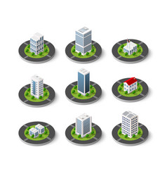 Icon set of the city with isometric houses vector