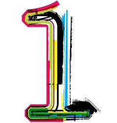 Grunge colorful font Number 1 vector image