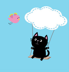 Cat ride on the swing cloud shape flying pink vector