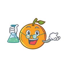 Professor orange fruit cartoon character vector