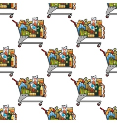 Seamless background pattern of a cart of groceries vector