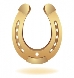Gold horseshoe as fortune symbol vector