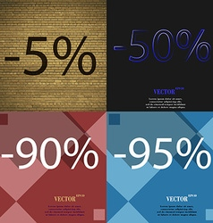50 90 95 icon set of percent discount on abstract vector