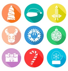 Set of christmas icons flet white color vector