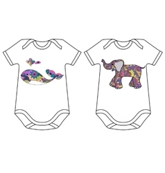 Set of baby bodies with prints vector