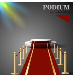 Empty white podium with red carpet vector