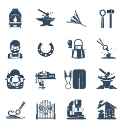 Blacksmith black icons set vector