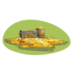 Pirate treasure chest with gold vector image