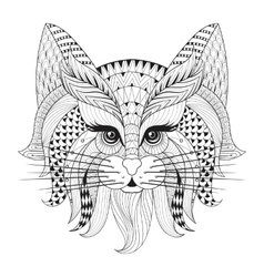 Zentangle hand drawn cat face for adult antistress vector