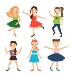 Little happy girl characters vector