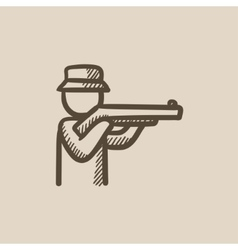 Hunter sketch icon vector