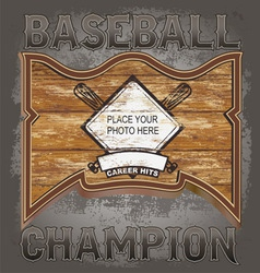 baseball wood frame vector image