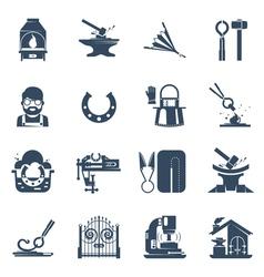 Blacksmith black icons set vector