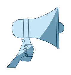 Blue shading silhouette of hand holding megaphone vector