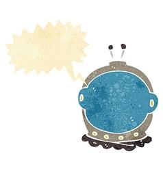Cartoon astronaut helmet with speech bubble vector
