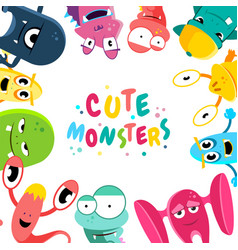 cute cartoon monsters background vector image
