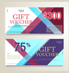 Gift voucher or gift card on colorful abstract vector