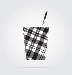 grayscale tartan icon - fast food drink with straw vector image vector image