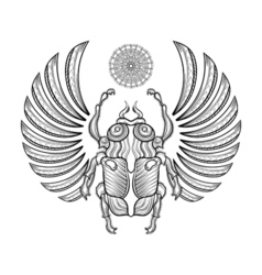 Hand drawn egyptian scarab beetle Zentangle vector image