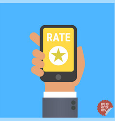 hand holding smartphone with rate button star vector image