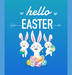 happy easter day with white easter rabbit vector image vector image