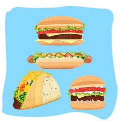 Hot dog hamburgers and tacos vector