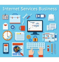 Internet service business concept graphic design vector