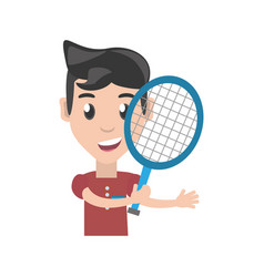 Isolated man playing tennis vector