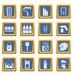 Painting icons set blue vector