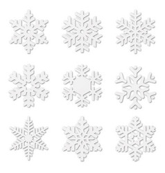 paper cut snow flakes vector image vector image