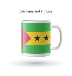 Sao tome and principe flag souvenir mug on white vector