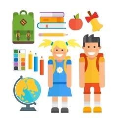 School symbols and kids set vector