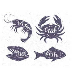 seafood on wite vector image
