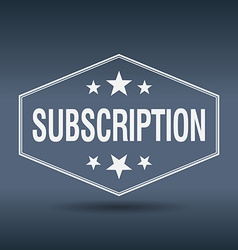 Subscription hexagonal white vintage retro style vector