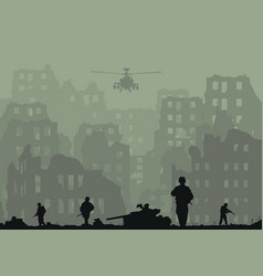 the ruined city exploded tanks h vector image vector image