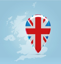 UK point icon over silhouette map vector image vector image
