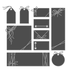 Chalkboard cards labels with twine bows ribbons vector image