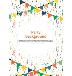 Party background with garlands and confetti on vector