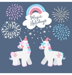 Cute christmas greeting card invitation little vector