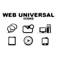 Black glossy web universal icon set vector